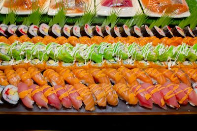 A catered sushi buffet